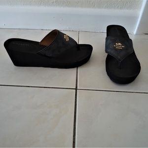 COACH Leather Janice Wedge Flip Flop Sandal 6B